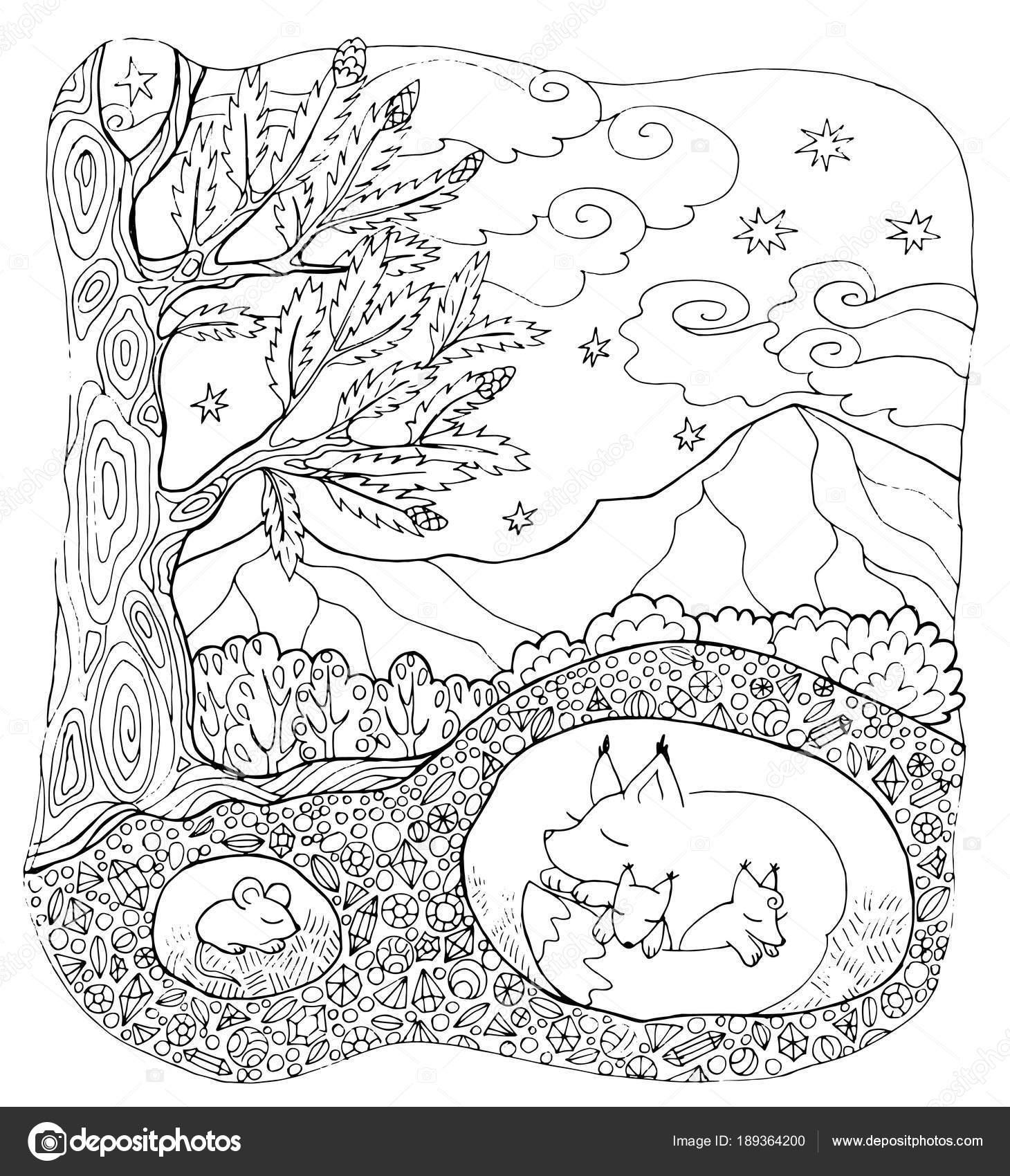 animales del bosque página del colorante — Vector de stock © SnowKat ...