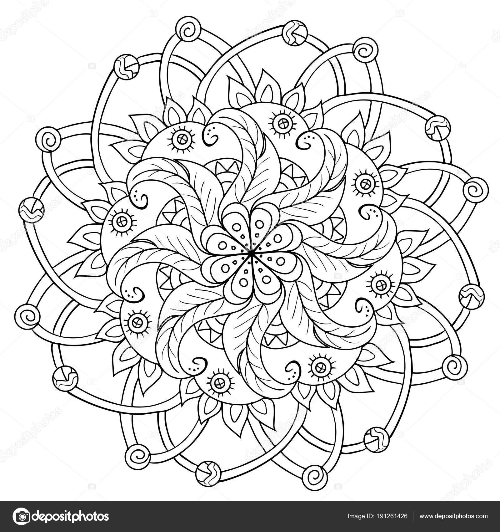 Dekorative Blumen-mandala — Stockvektor © SnowKat #191261426