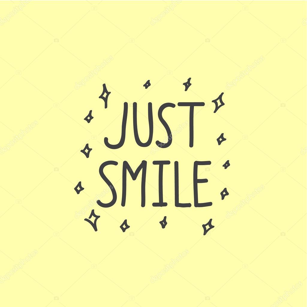 каллиграфический фраза только улыбка на желтом фоне