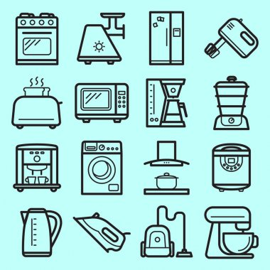 KItchen electronic appliances vector set made in line art style