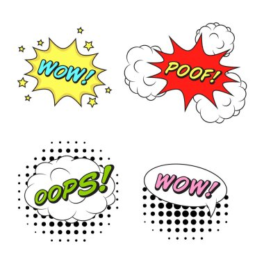 Comics style vector stickers set of 4: WOW! POOF! OOPS! WOW!