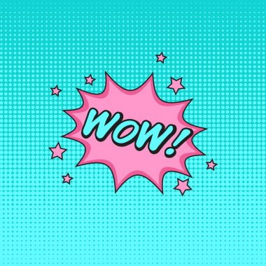 Comics style vector sticker WOW! with blue half-tone pattern