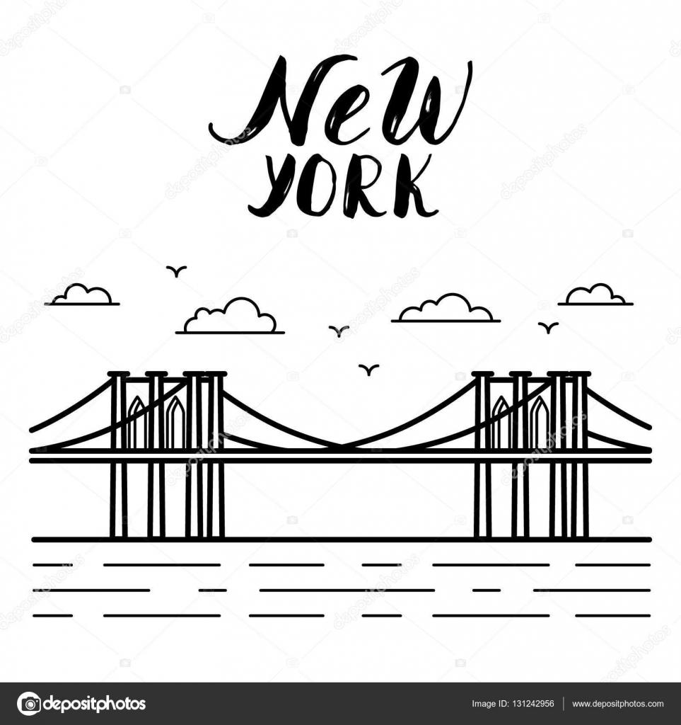 ニューヨーク ブルックリン橋の現代書道イラスト ストックベクター