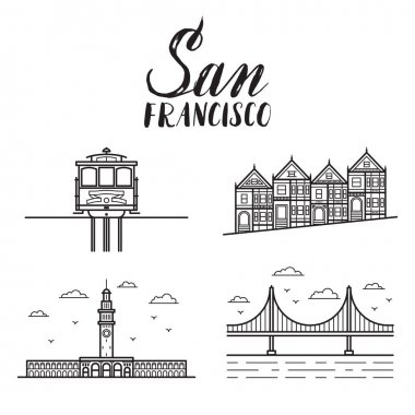 San Francisco illustration with modern lettering, painted ladies