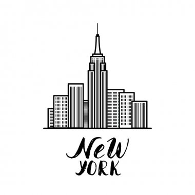 New York illustration with modern calligraphy and skyscraper's b
