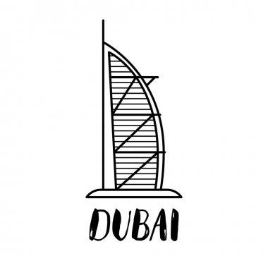 Dubai Burj Al Arab line at illustration with modern lettering
