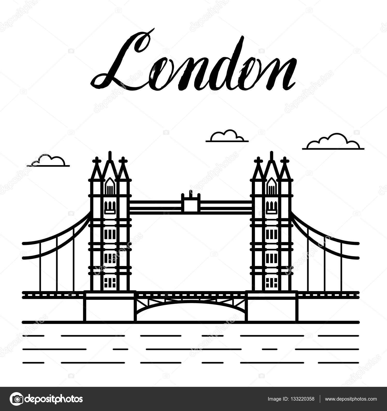 Dessin Au Trait Ville London Tower Bridge Building