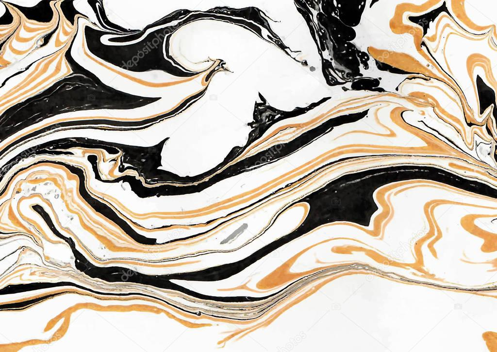 Marbled abstract design in white-golden-black colors rectangular composition