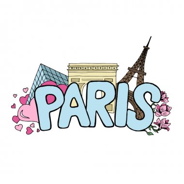 Spring in Paris vector colored sketch with famous landmarks, blossoming magnolia and falling hearts