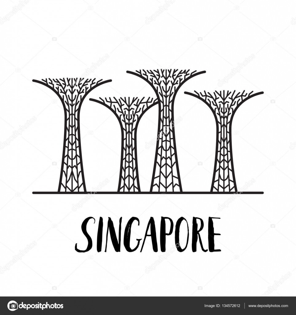 famous singapore landmark gardens by the bay with modern lettering stock vector 134572612
