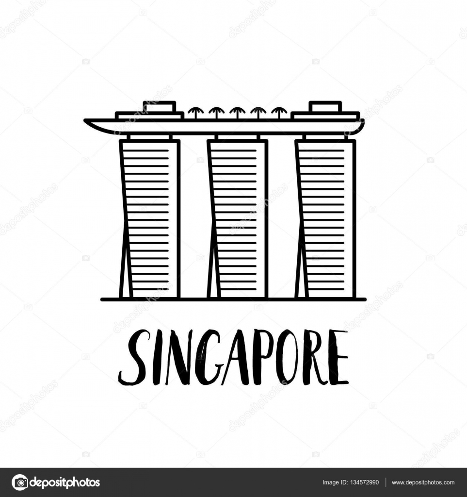 Famous Singapore Landmark Marina Bay Sands With Modern
