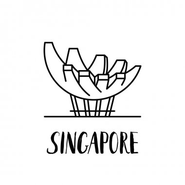 Famous Singapore landmark Lotus by the sea with modern lettering
