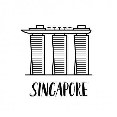 Famous Singapore landmark Marina bay Sands with modern lettering