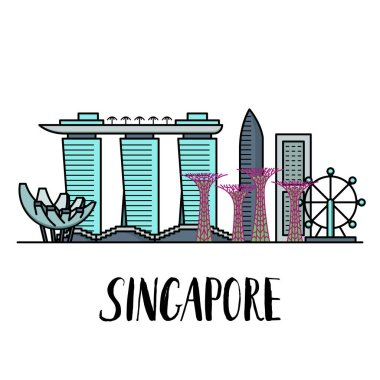 Famous Singapore landmarks landscape with modern lettering