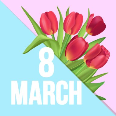 8 March typographic poster with red tulips bouquet on pink and blue divided triangles background