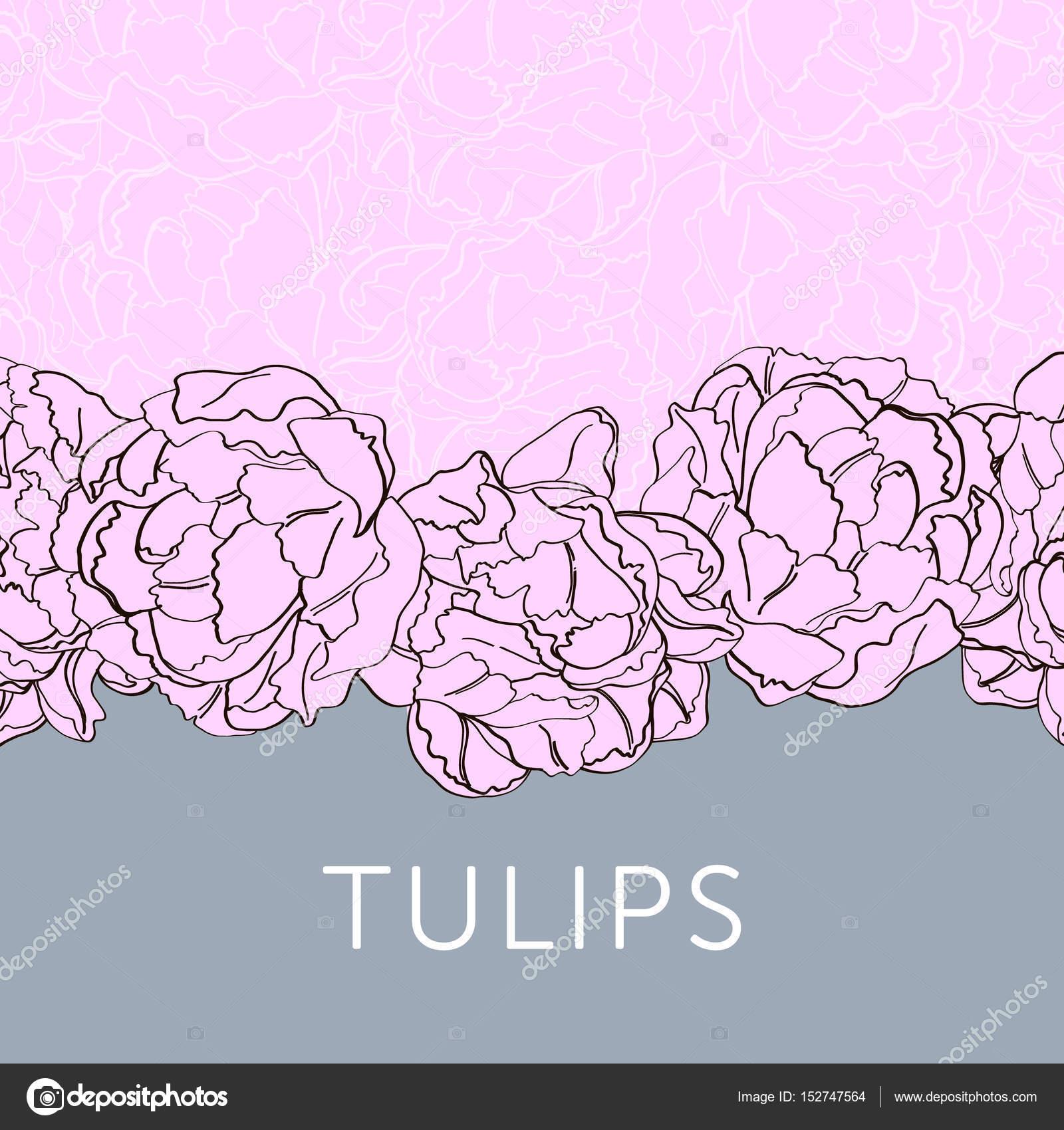 tulip flower outline sketch for invitation template stock vector