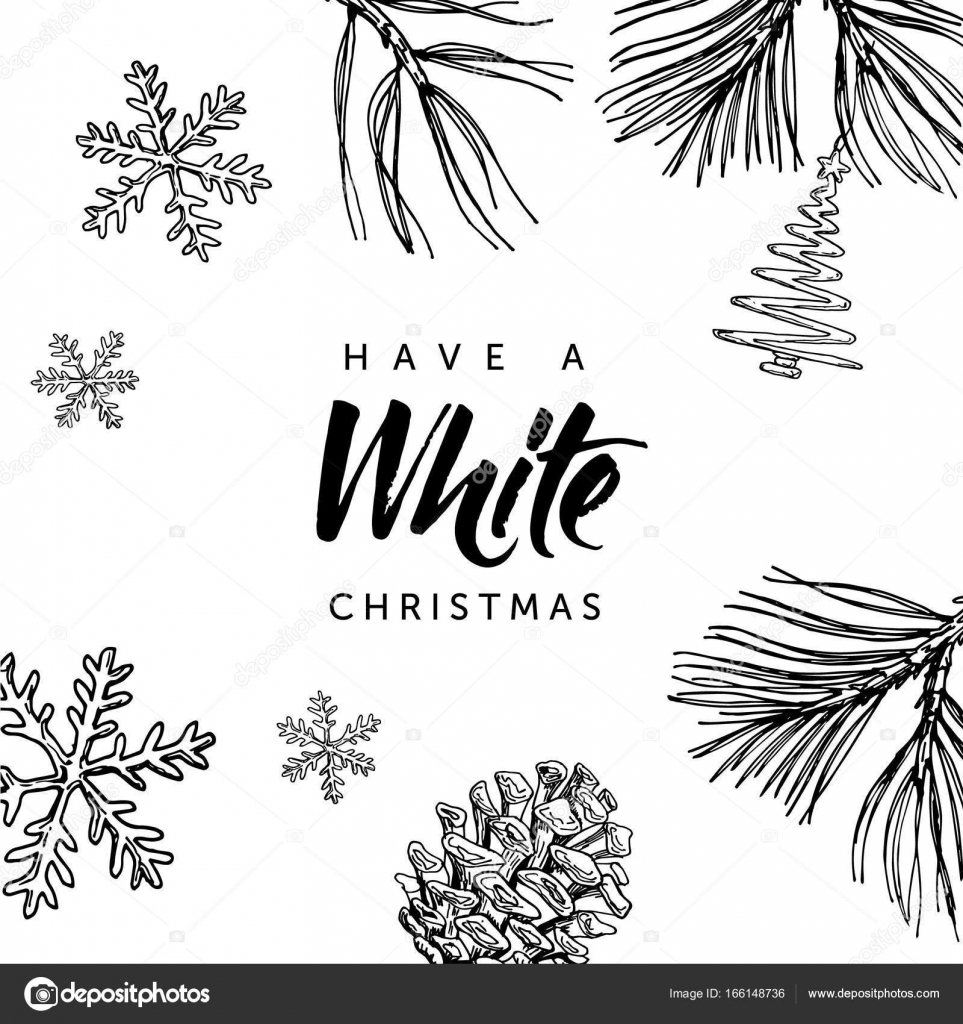 have a white christmas hand written lettering and hand drawn christmas doodle stock vector - When Was White Christmas Written