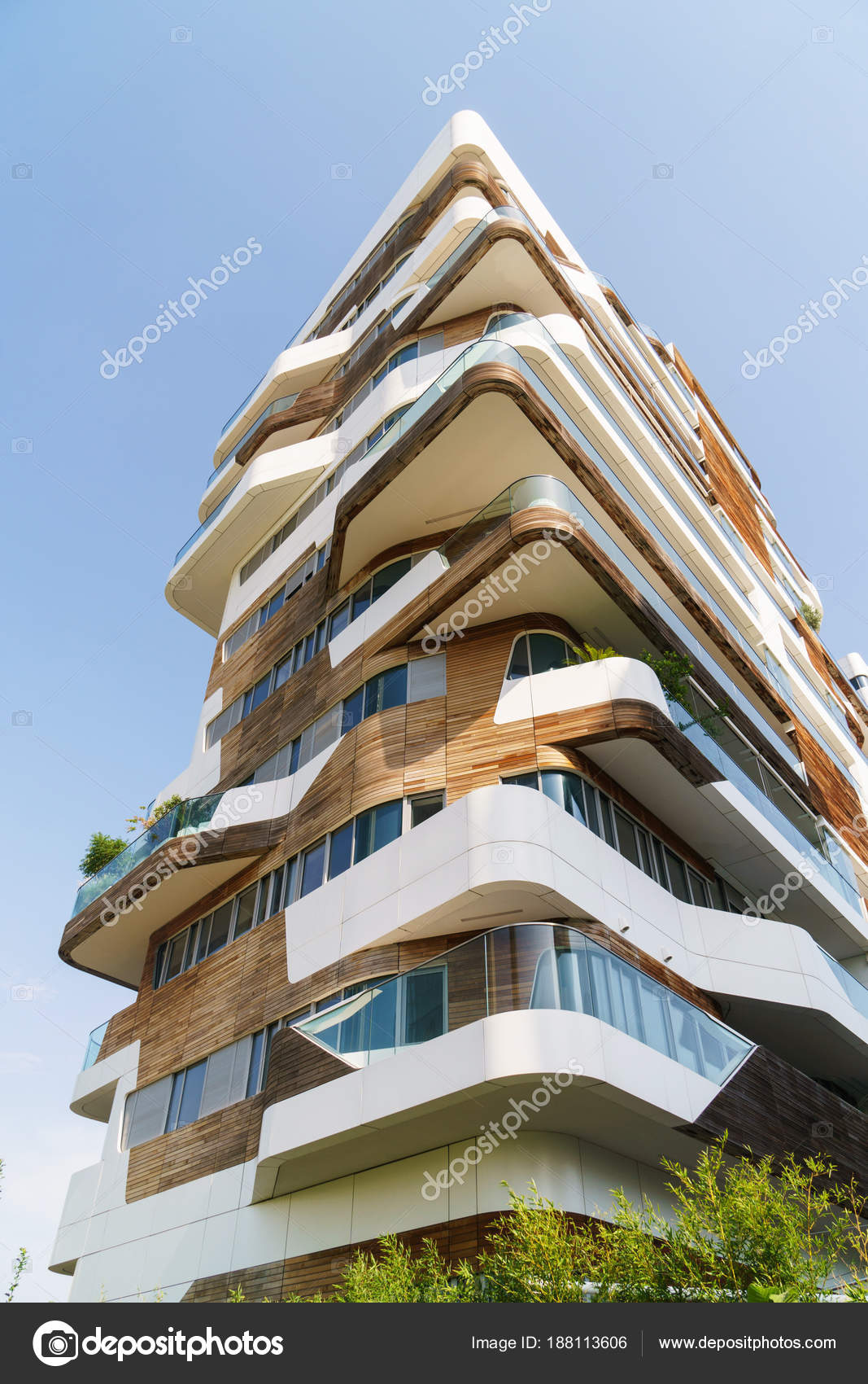 Modern Architecture Building Milan Italy White Wooden