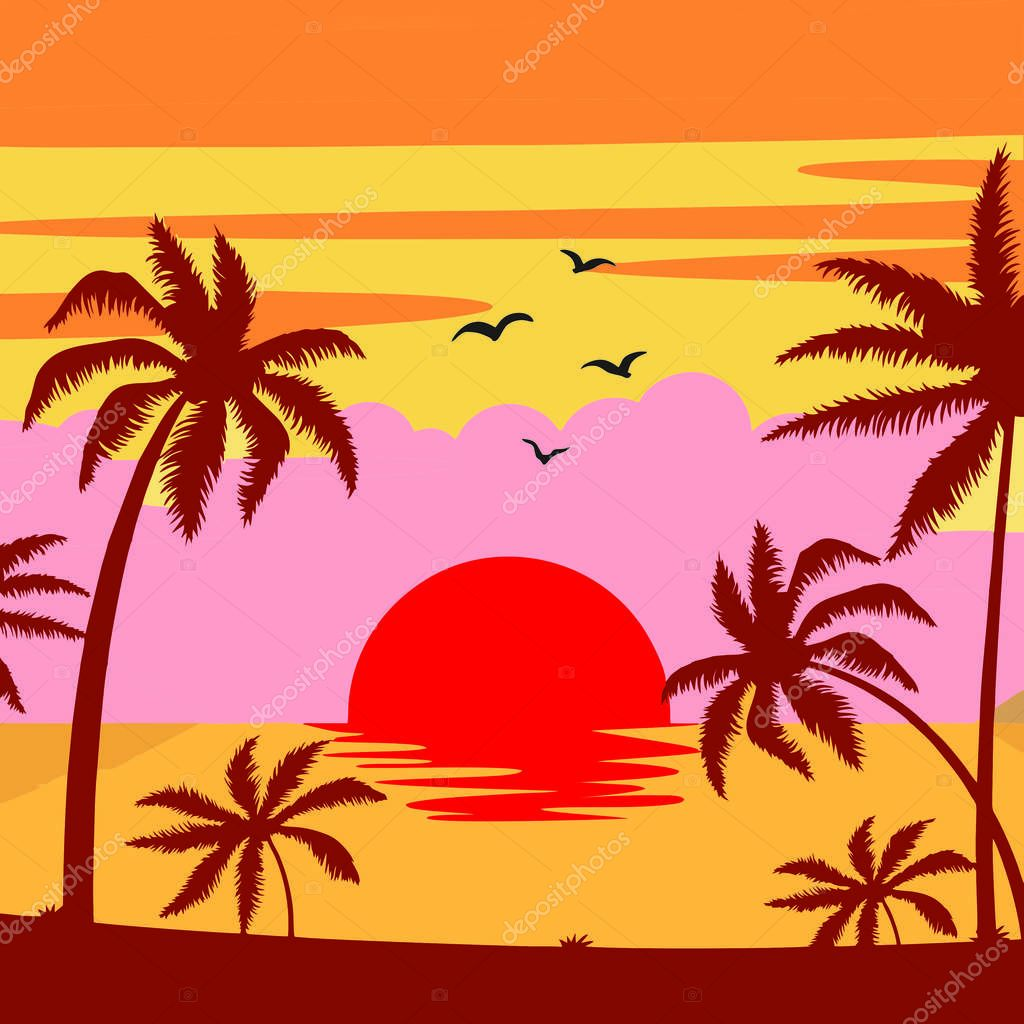 Background beach with palm trees sunset