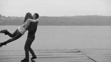 Couple in love outdoor, slow motion
