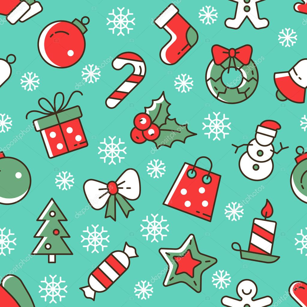 christmas vector seamless pattern cute christmas icons on a blue background stock vector c julia s 129031016 https depositphotos com 129031016 stock illustration christmas vector seamless pattern cute html