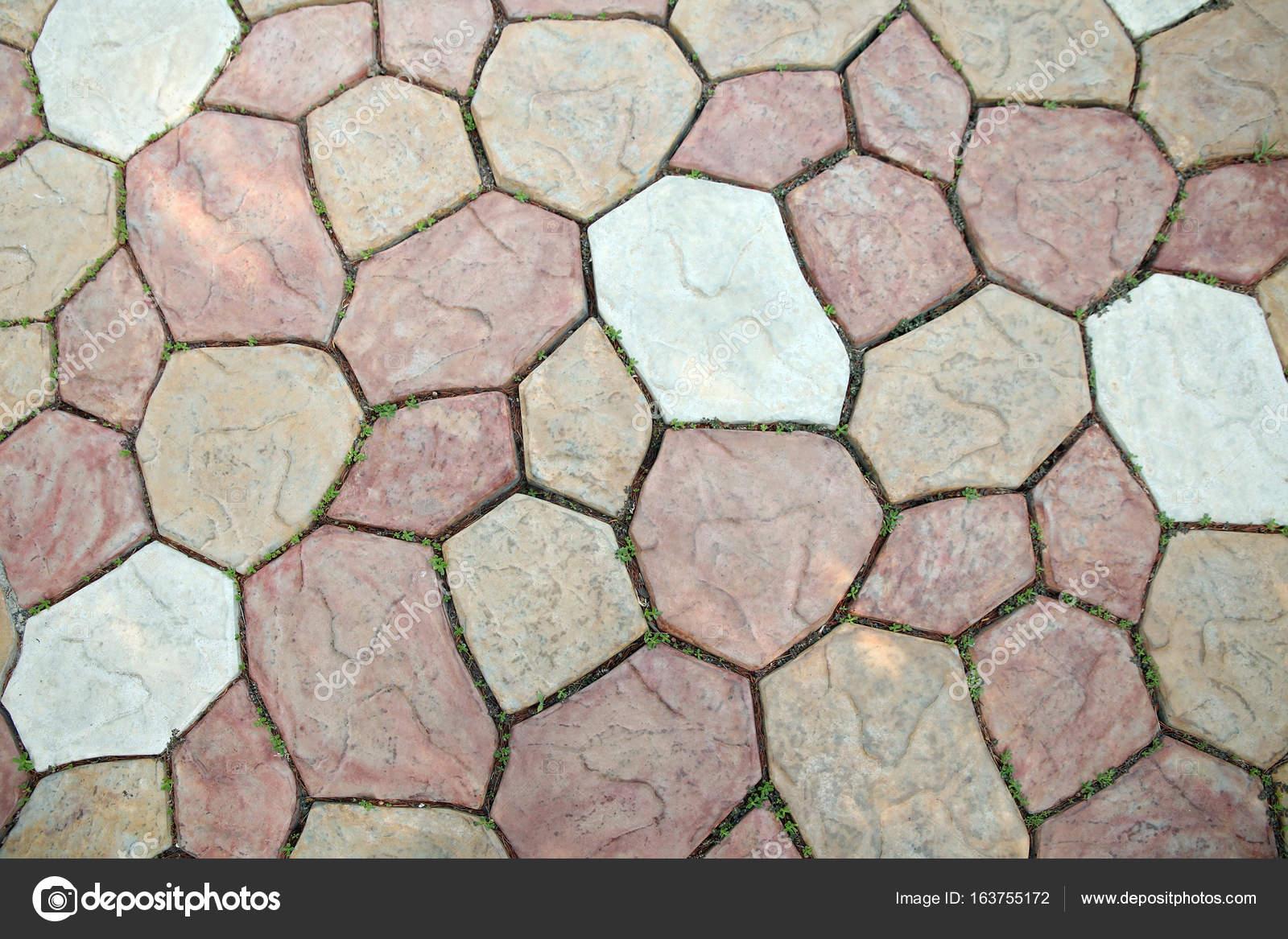 Piastrelle di pietra con erba di germogliatura u foto stock