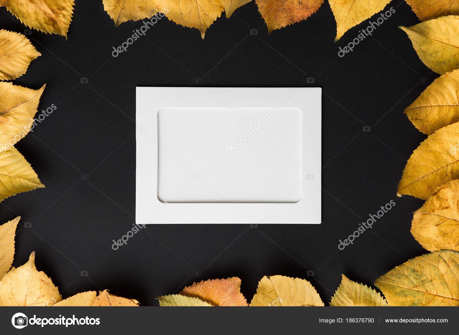 marco de foto en blanco sobre un fondo negro con el otoño las hojas ...