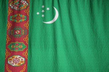 Closeup of Ruffled Turkmenistan Flag, Turkmenistan Flag Blowing in Wind