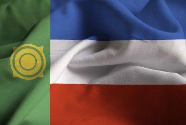 Closeup of Ruffled Khakassia Flag, Khakassia Flag Blowing in Wind