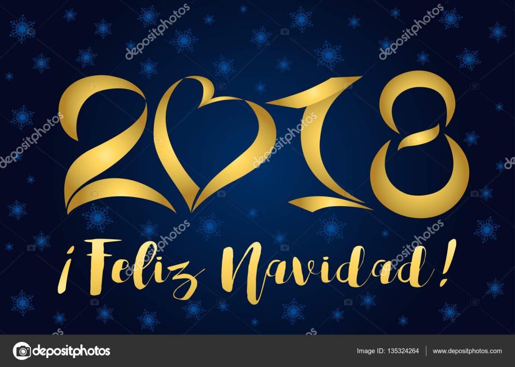 Figuras De Cartão Dourado 2018 Feliz Navidad