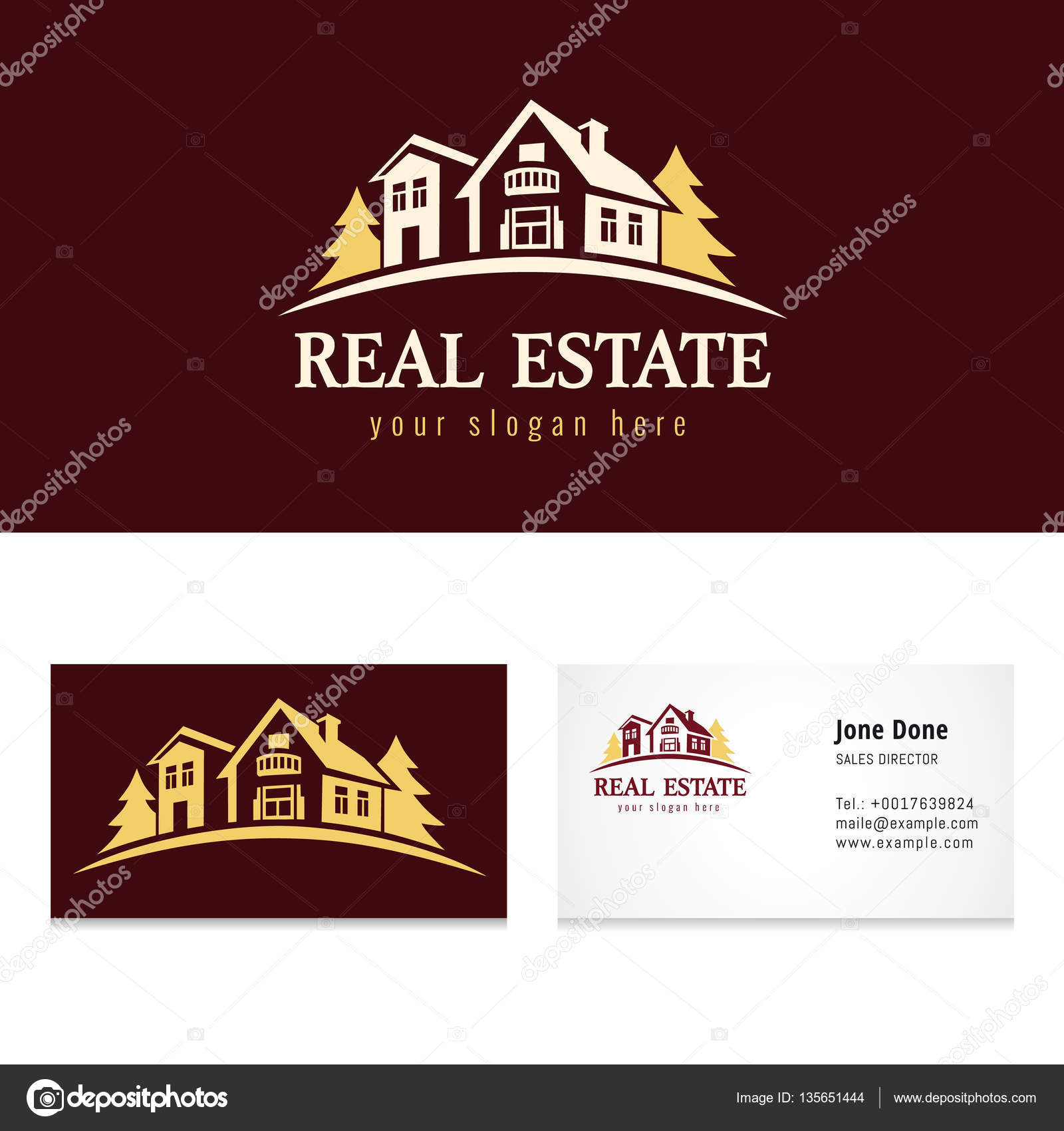 Real estate golden forest logo template — Stock Vector ...