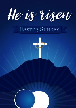 Easter sunday holy week calvary tomb banner