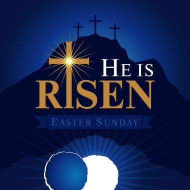 He is risen navy blue card