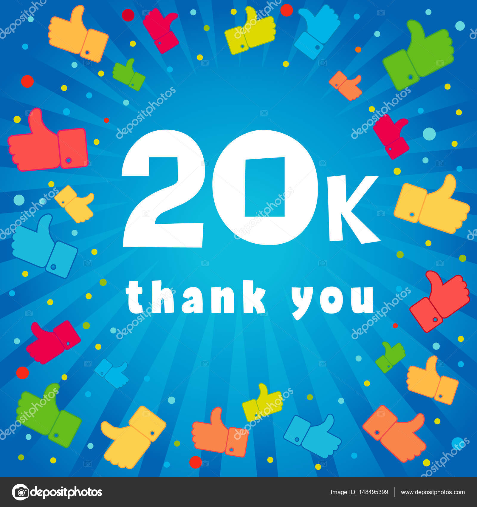 20k thank you banner stock vector koltukov alek 148495399