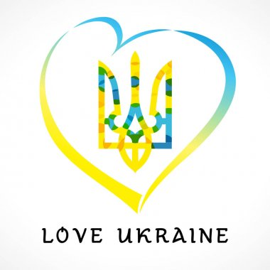 Love Ukraine emblem colored