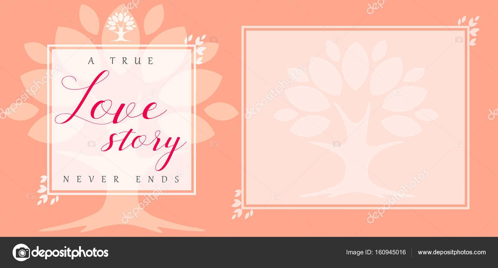 Tarjeta de invitación de boda amor historia Hoja floral marco ...