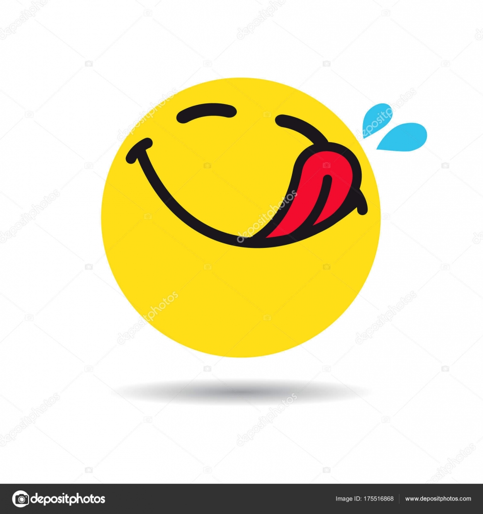 Hungry Emoticon Emoji Symbol Yummy Yellow Smiley Flat ...