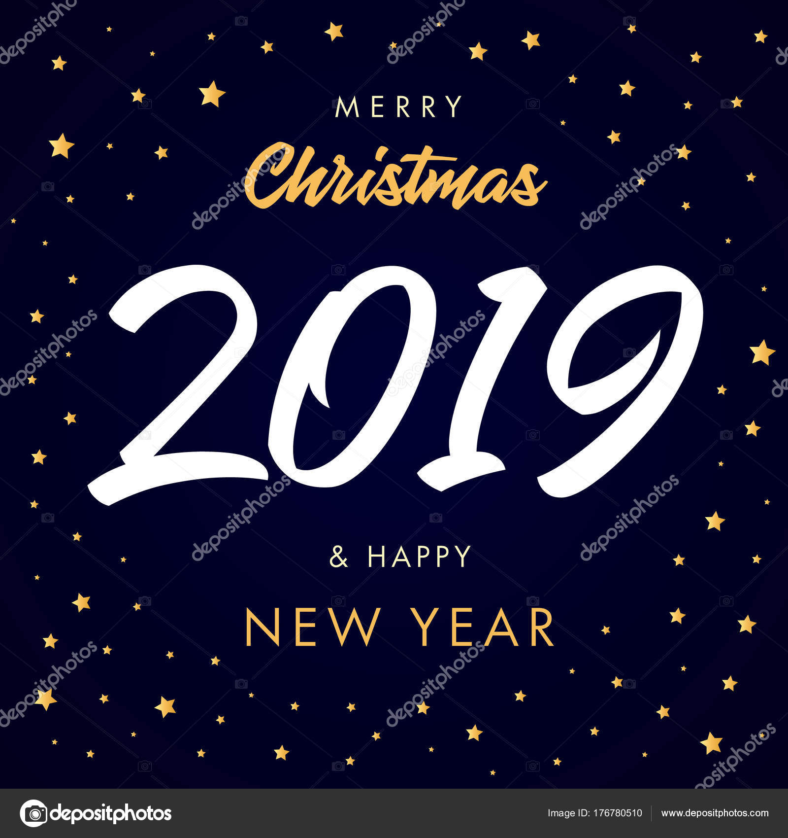Merry Christmas Calligraphy 2019 Happy New Year Greeting Card Vector