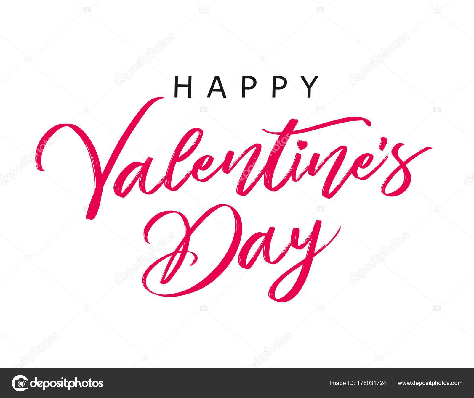 Banner Feliz Día San Valentín Caligrafía Plantilla Tarjeta ...