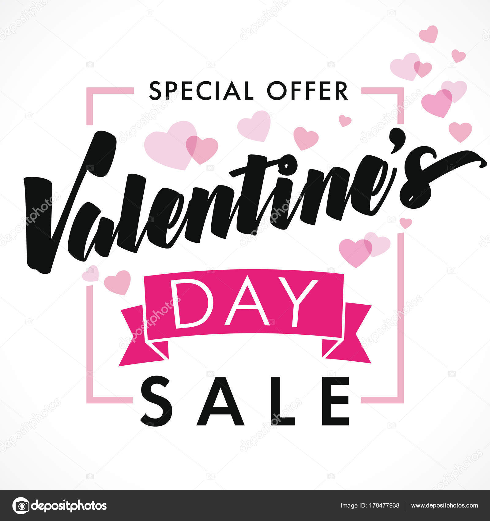 Valentines Day Sale Background Pink Hearts Sale Banner Template