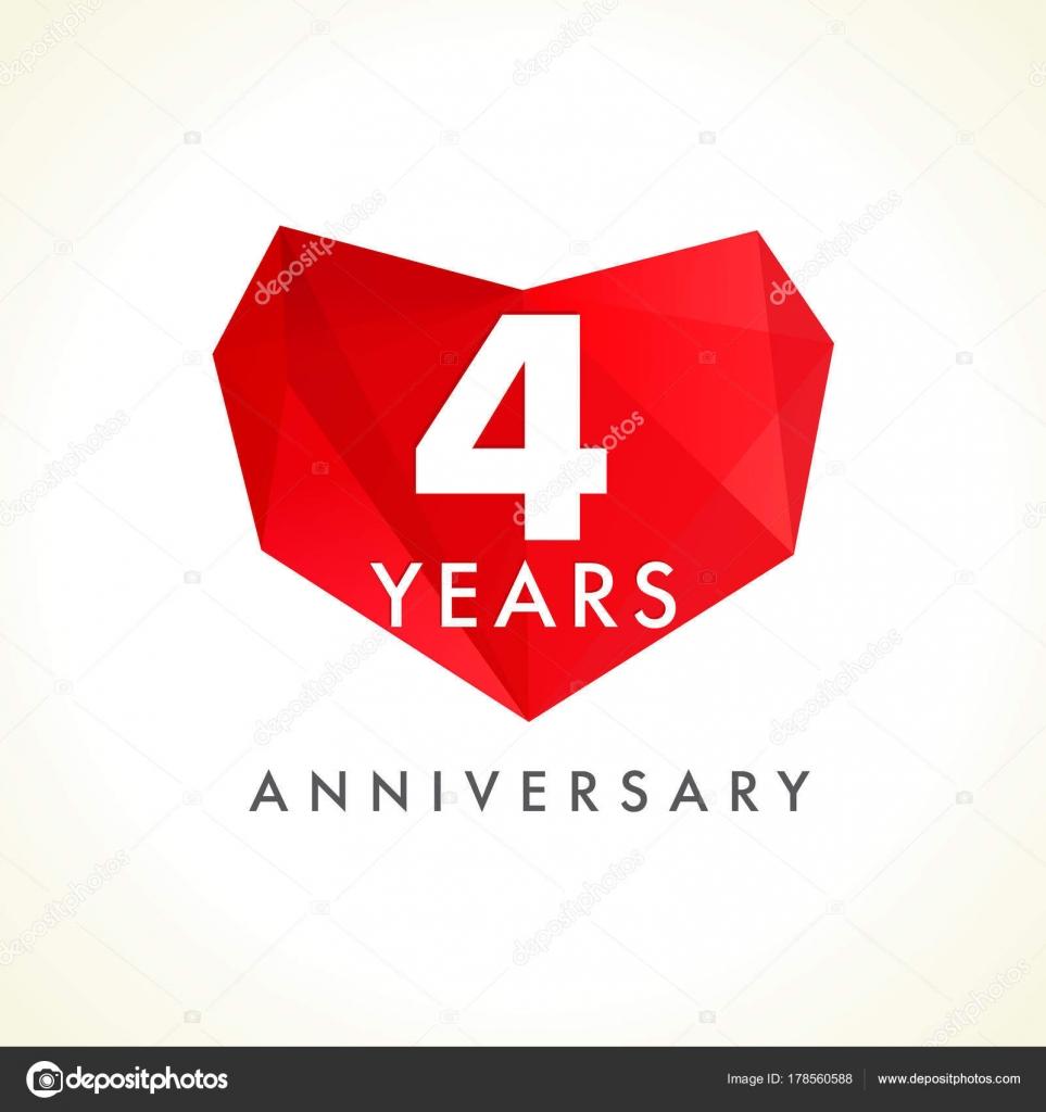 years anniversary heart logo template emblem 4th years celebration