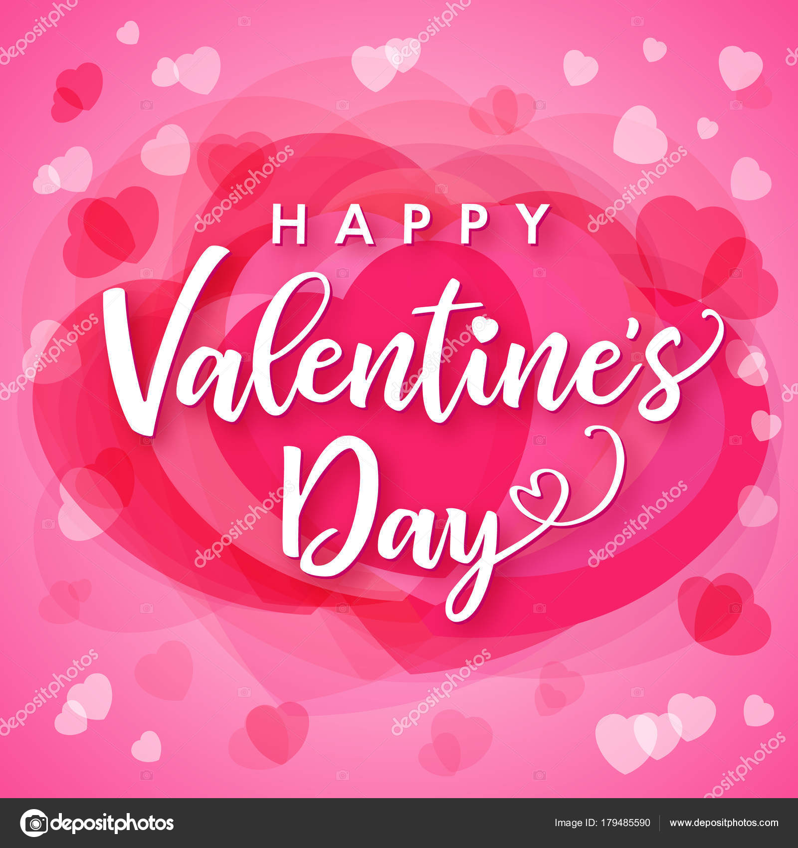 Valentines Day Lettering Calligraphy Pink Hearts Background Greeting