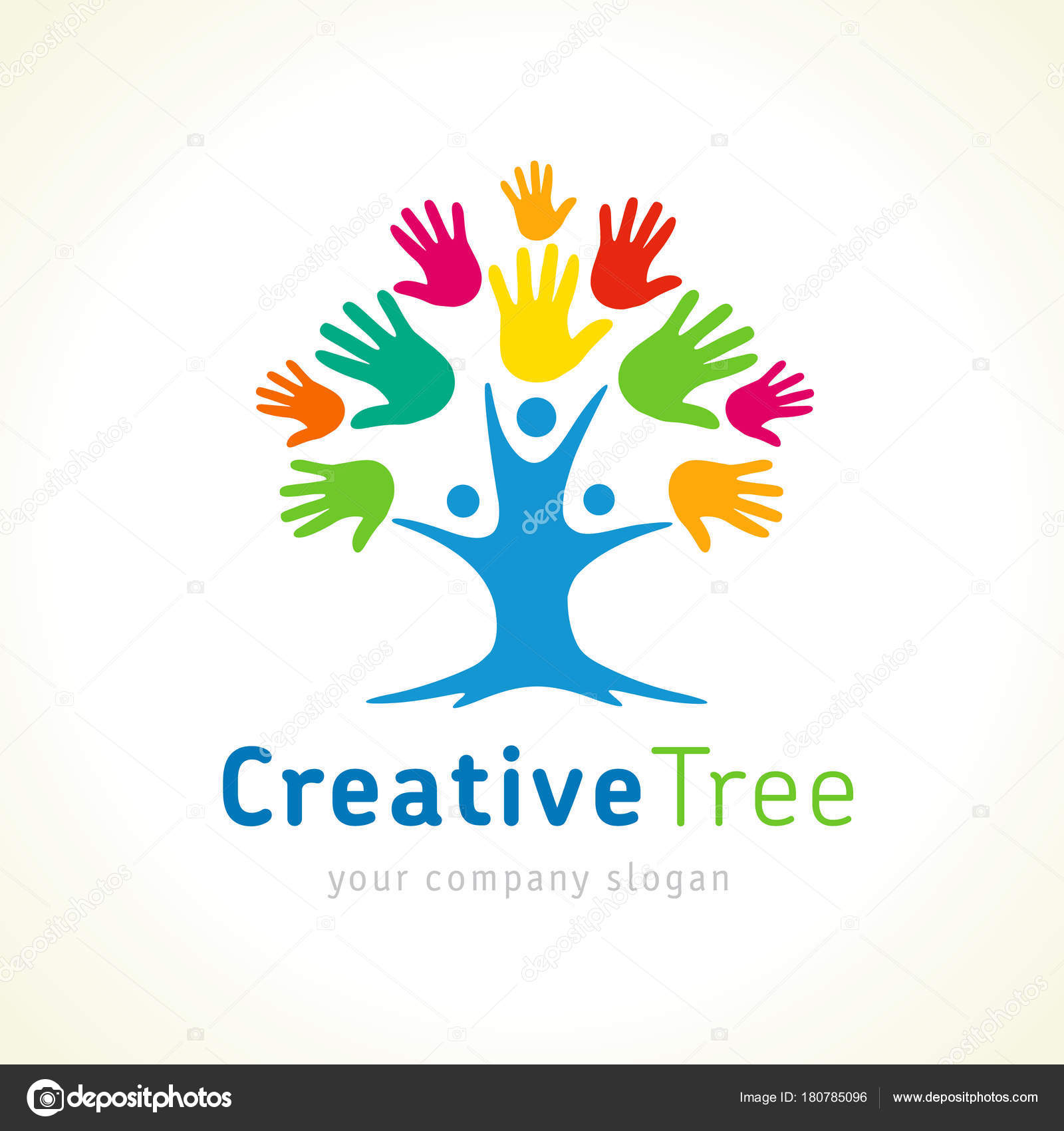 Kreative Baum Farbigen Hände Logo Vorlage Menschen Baum Einheit ...
