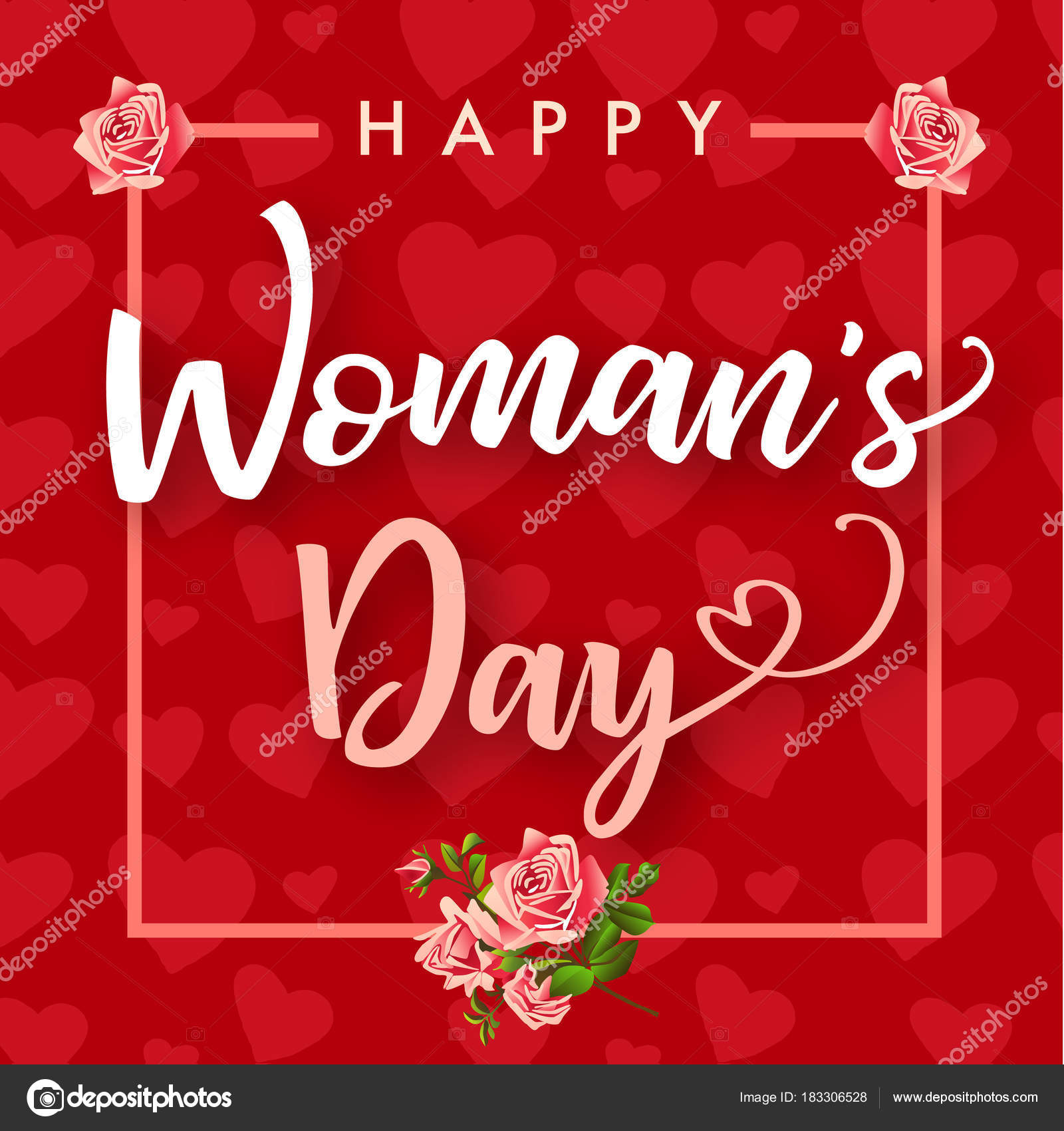 Happy womens day march rose flower hearts banner women day stock happy womens day march 8 rose flower and hearts banner womens day greeting card template with typography text happy womens day on red hearts background kristyandbryce Gallery
