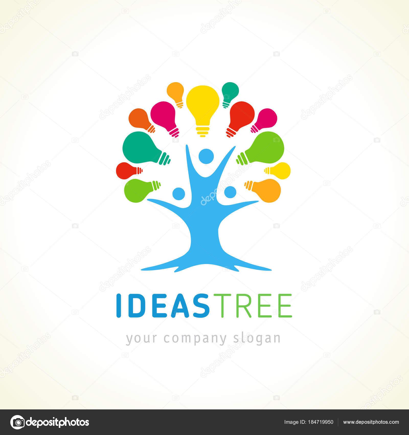Ideen Baum Logo Menschlichen Baum Kreative Vektor Vorlage Neue Idee ...
