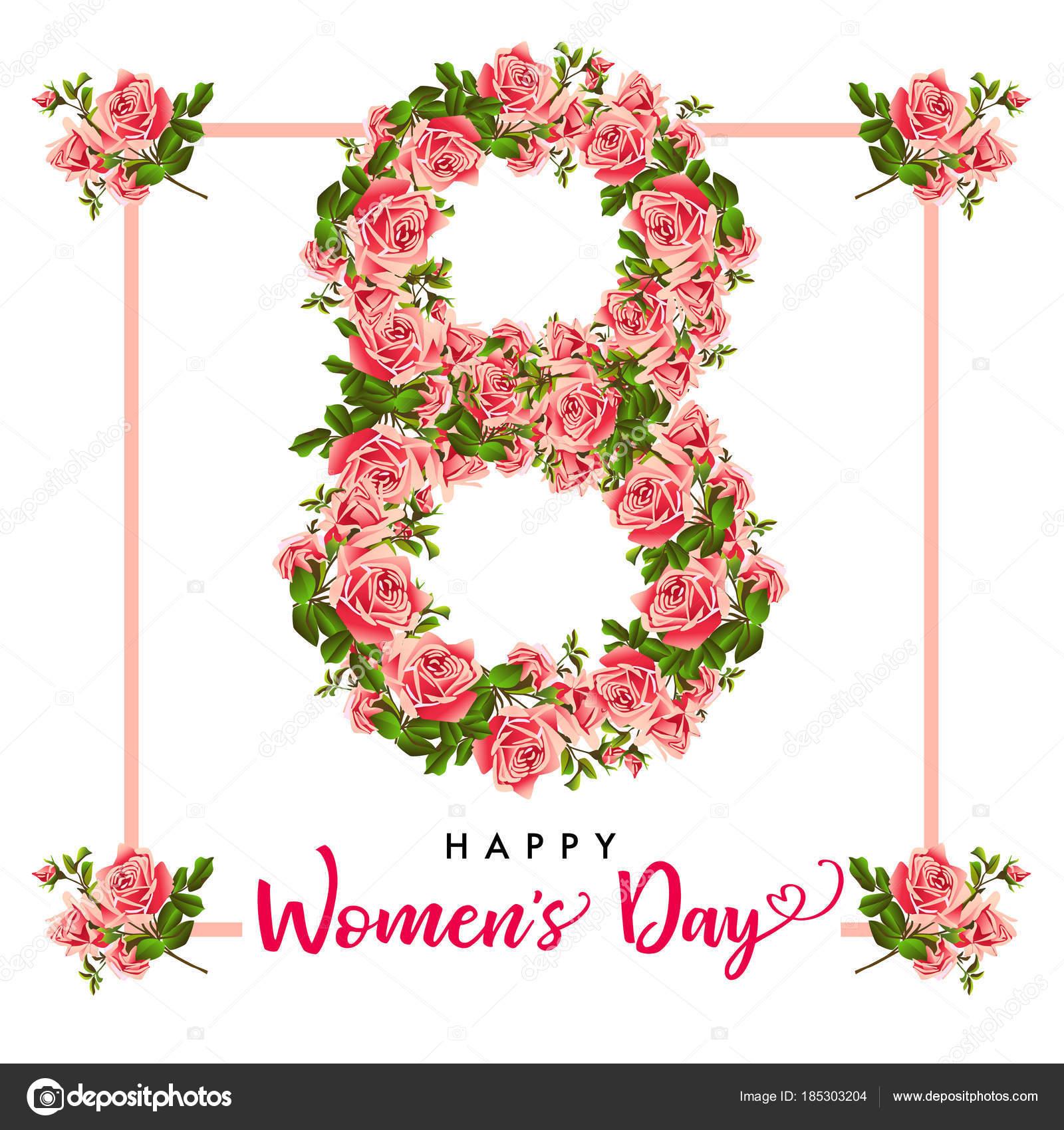 März Glücklich Womens Tag Rose Blume Grußkarte Schriftzug Für Den ...