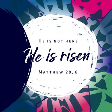 He is risen, He is not here. Invitation vector blue color template. Open lighting empty cave shining angel inside. Religious greetings. Jesus up from dead. Light in the end of tunnel. Isolated elements