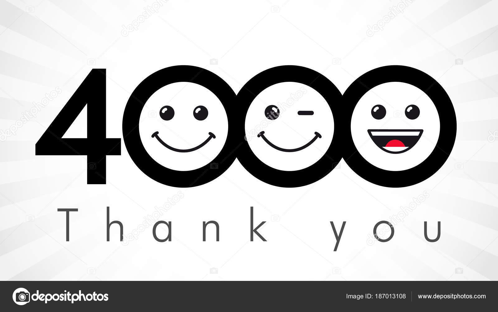 gracias números 4000 seguidores felicitaciones gracias blanco negro