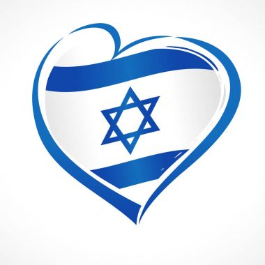 Love Israel, heart emblem national flag colored. Flag of Israel with heart shape for Israel Independence Day isolated on white background. Vector illustration