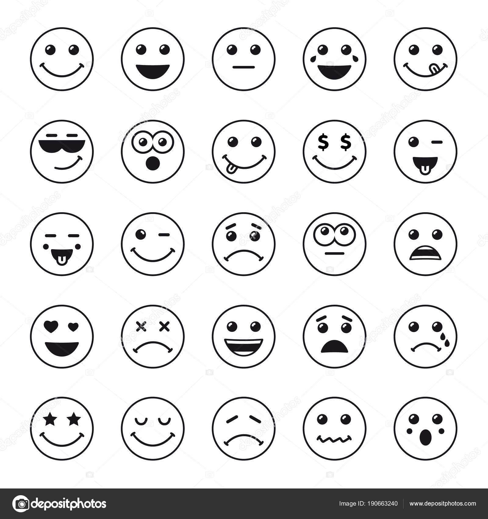Line Art Emojis : Conjunto arte linha redonda emoticons Ícones emoji pretos